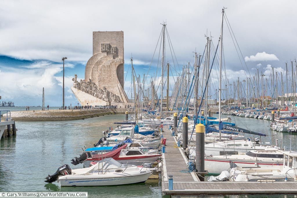 The view of Padrão dos Descobrimentos across the marina, Lisbon, Portugal