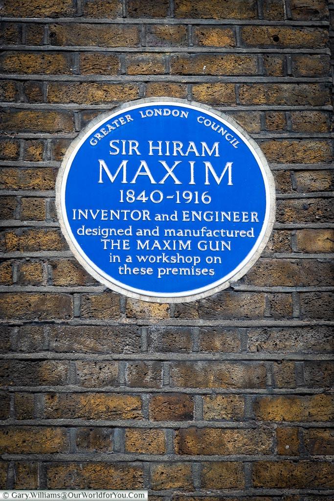 The Blue Plaque to Sir Hiram Maxim, London, England