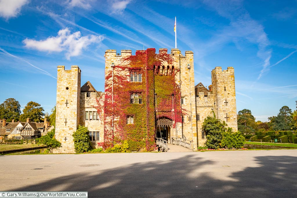 The entrance across the moat, Hever Castle, Kent, England