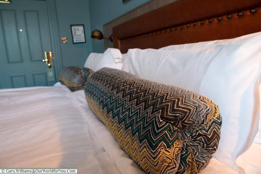 A large, comfortable bed, The White Horse, bespoke hotels, Dorking, Surrey, England, UK