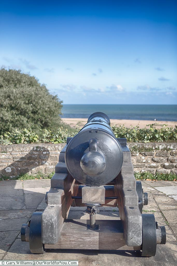 Cannon pointing out to sea from Walmer Castle, Walmer, Kent, England, UK