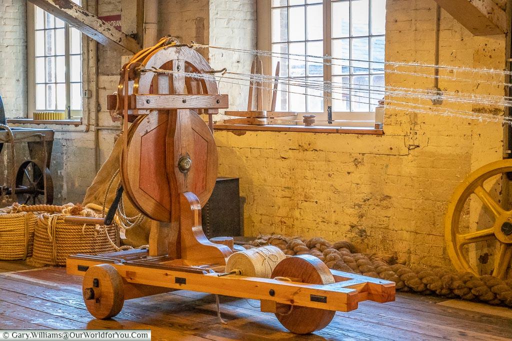 Demonstration of rope making, Historic Chatham Dockyard, Kent, England, UK