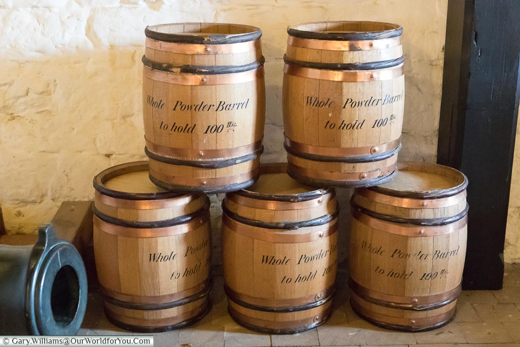 Powder Barrels, Upnor Castle, Upnor, Kent, England, UK