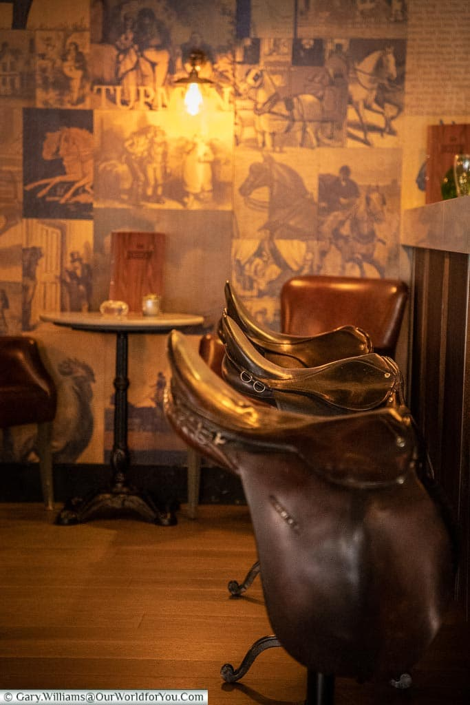 Saddle up at the bar, The White Horse, bespoke hotels, Dorking, Surrey, England, UK