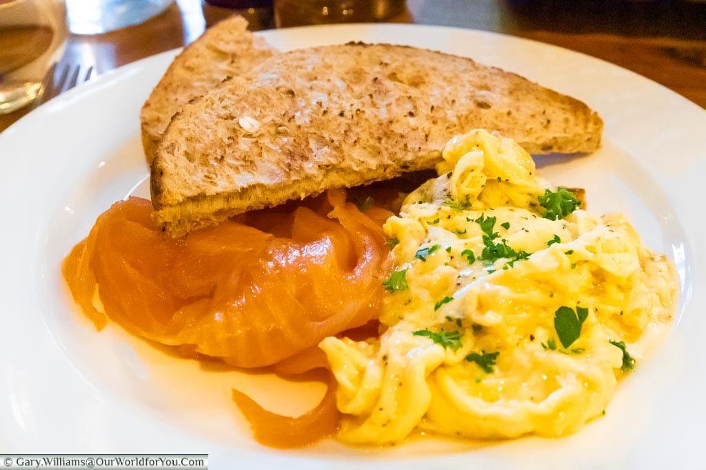 Smoked Salmon & scrambled egg for Breakfast, The Dozen Restaurant at the White Horse, bespoke hotels, Dorking, Surrey, England, UK