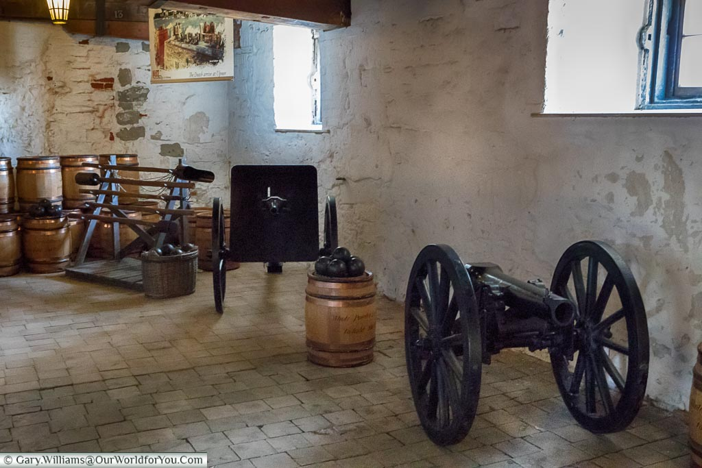 The firepower at Upnor Castle, Upnor, Kent, England, UK