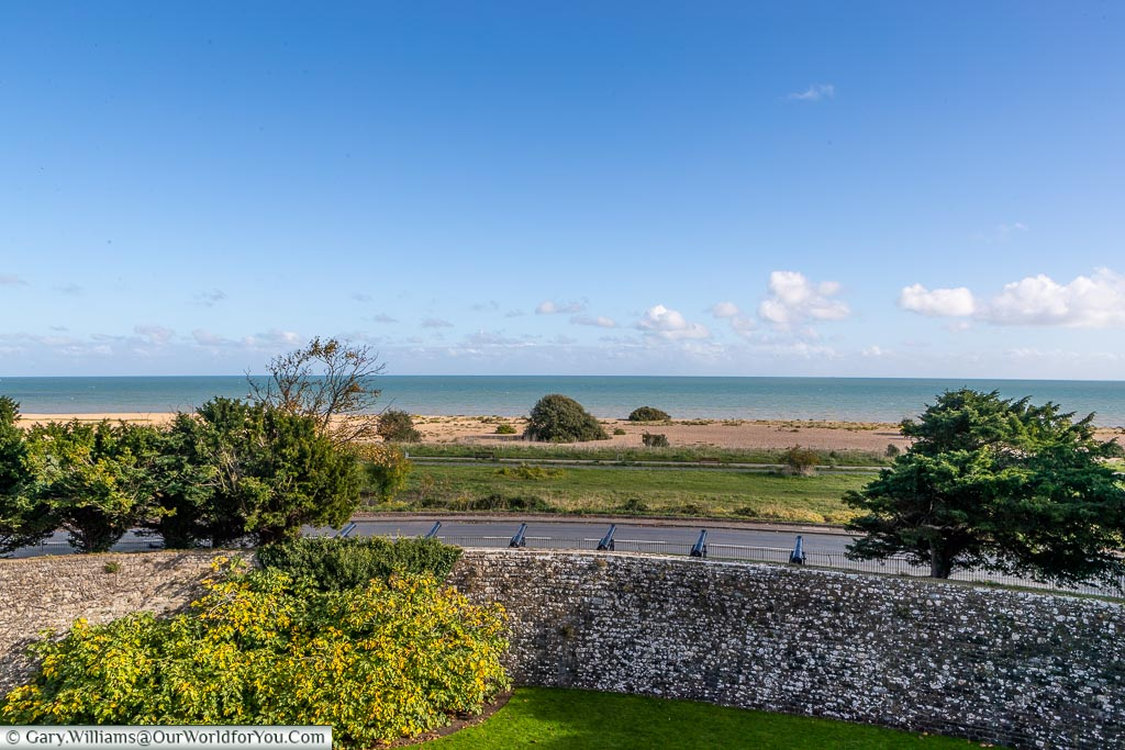 The shoreline in front of the castle, Walmer Castle, Kent, England, UK