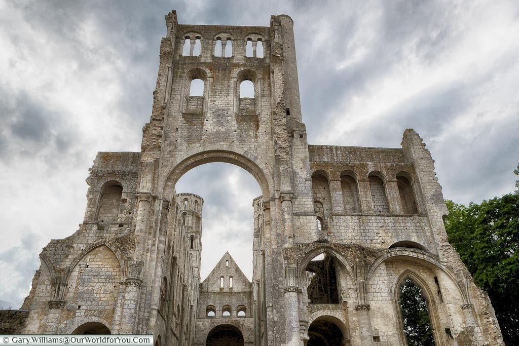 The striking detail of Jumieges Abbey, Normandy, France