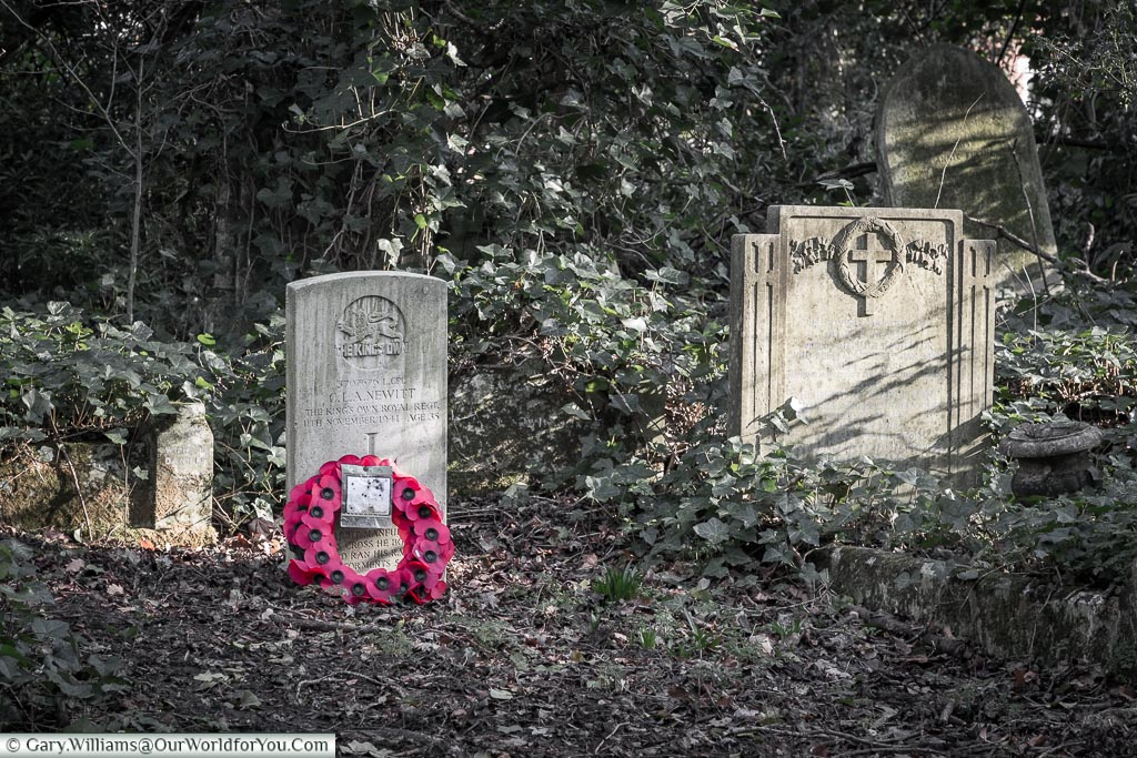 A lone WWII headstone, Nunhead Cemetery, London, England, UK
