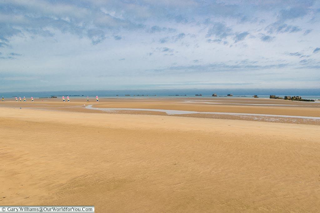 People enjoying Gold Beach, Normandy, France