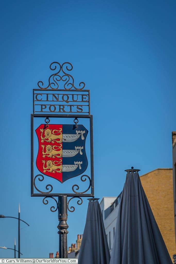 The Cinque Ports sign, Margate, Kent, England, UK