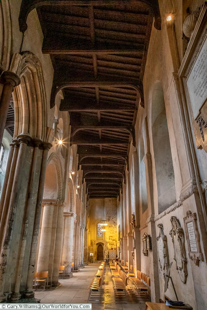 An aisle within the cathedral, Rochester Cathedral, Rochester, Kent, England, UK