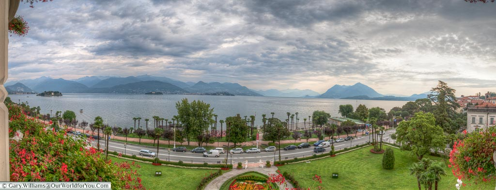 Pano from Regina Palace Hotel, Stresa, lake maggorie, lake, Italy