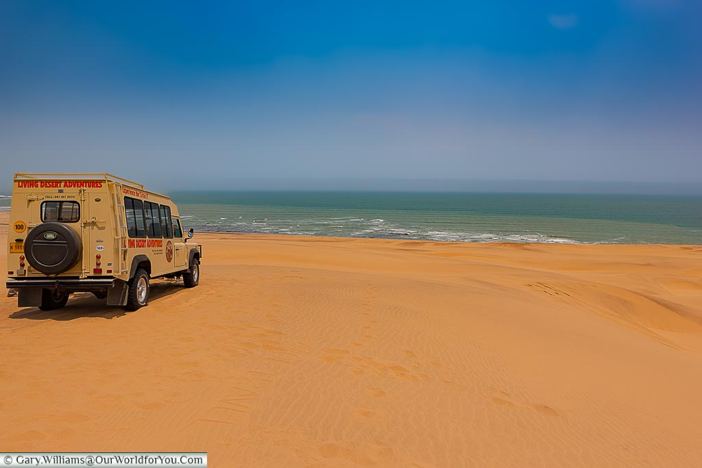The Land Rover & the view, Living Desert Adventures, Walvis Bay, Swakopmund, Namibia