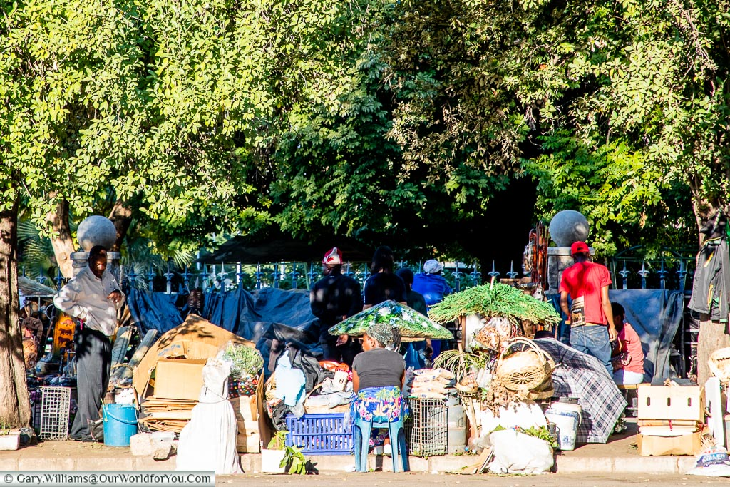 A view across the road to a market under the shade of trees.