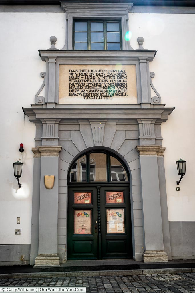 The grand doorway to the puppet theatre.