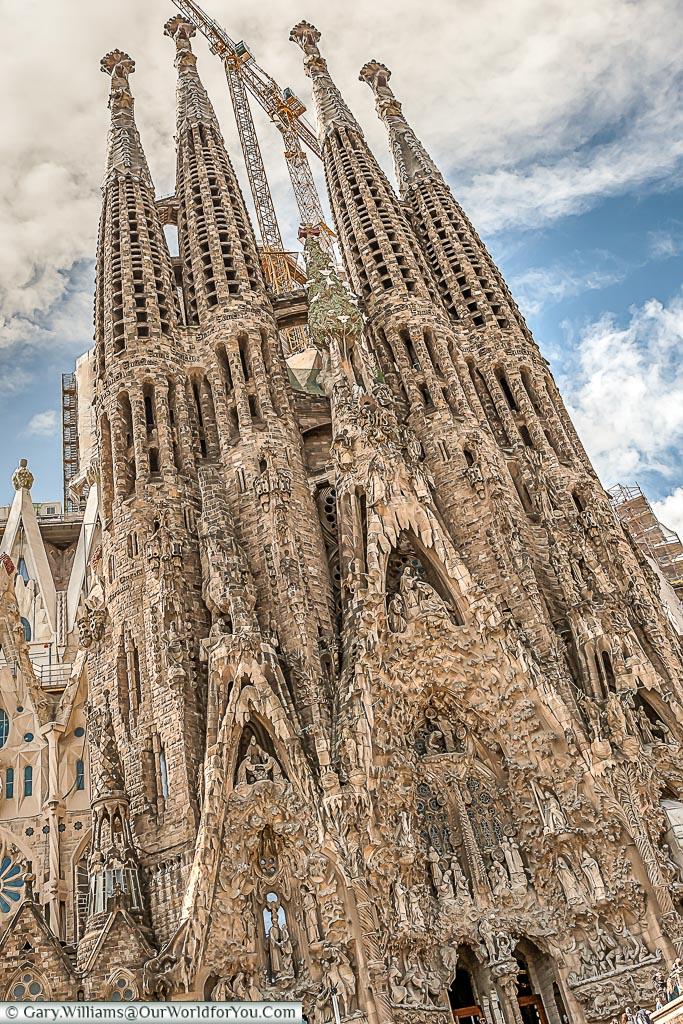 The detail in the nave of La Sagrada Familia in Barcelona