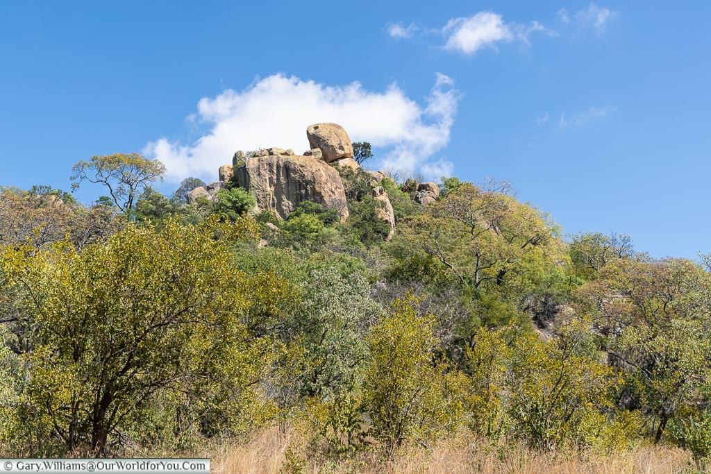 A rock formation high above the bush baseline.