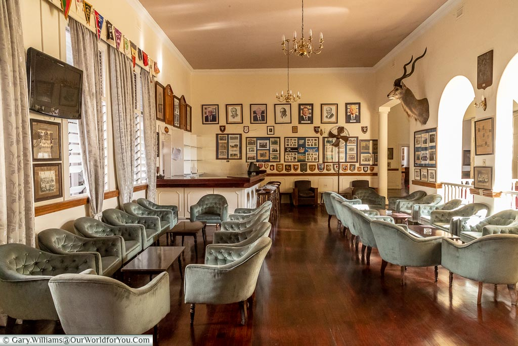 The upper cocktail abr an lounge area of the Bulawayo Club.