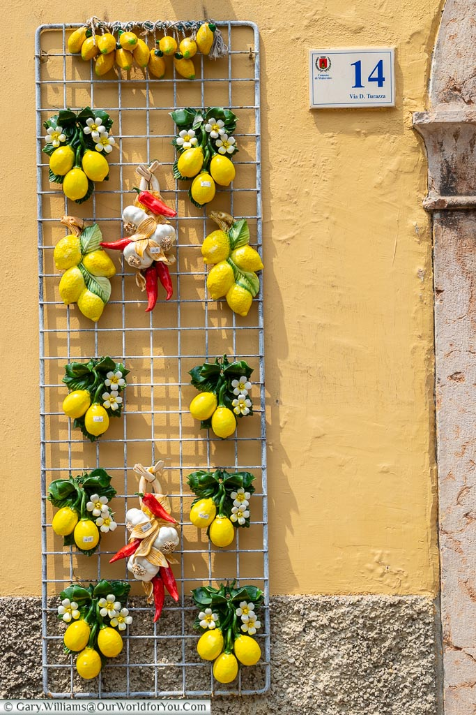 A display outside a shop selling lemon ornaments.