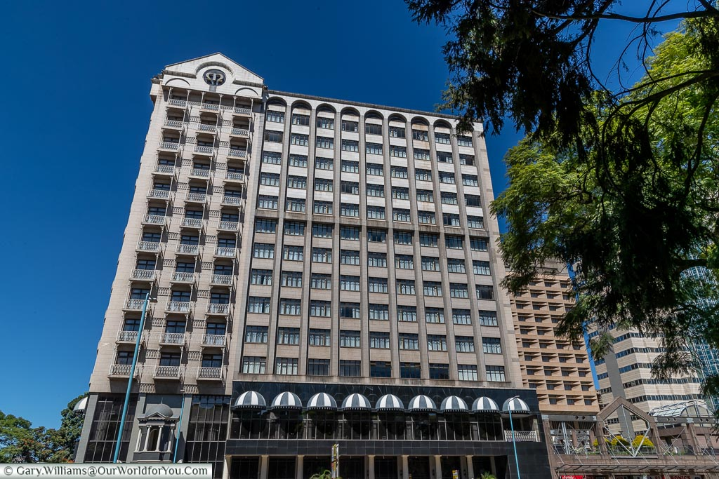 The Meikles Hotel in central Harare.  The building has a history of over 100 years, but this is a more recent addition.