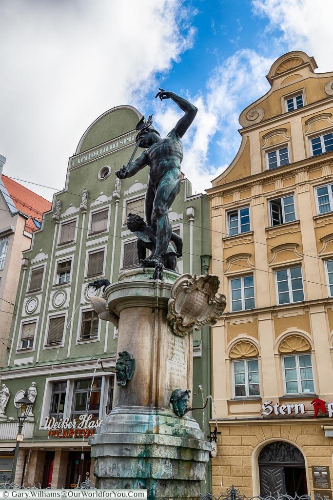Mercury Fountain, Maximilianstraße, A visit to Augsburg, visiting Bavaria, Germany