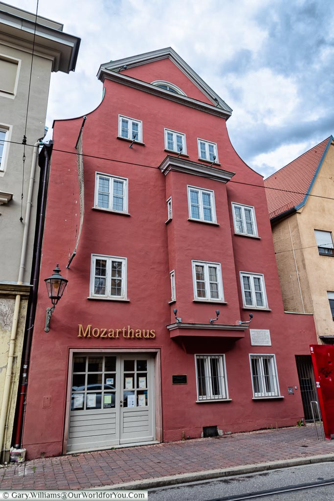 The red four-storey house that used to be home of Leopold Mozart, father of Wolfgang Amadeus  Mozart.