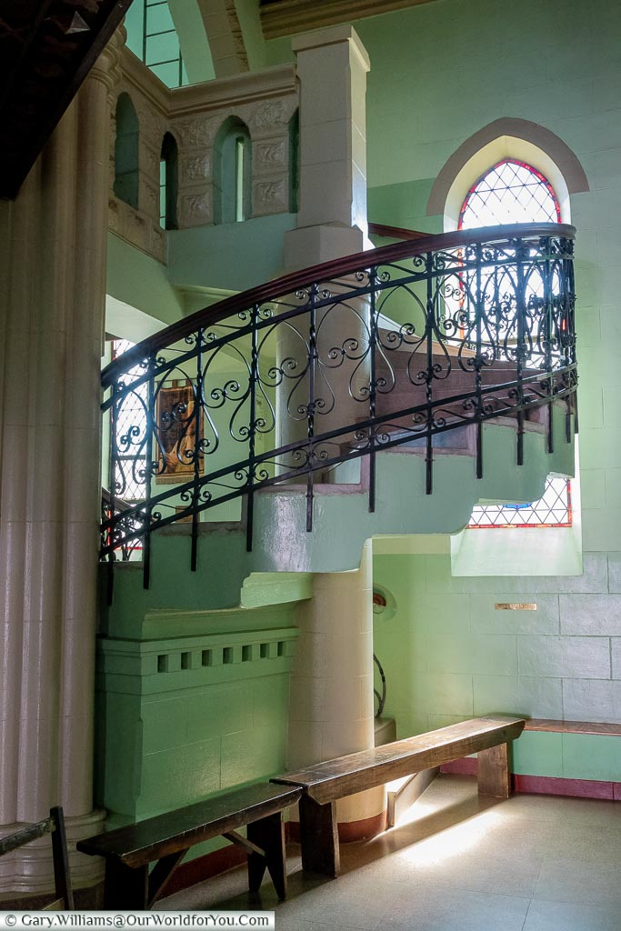 A spiral staircase at the back of the Sacred Heart Cathedral that leads to the organ.