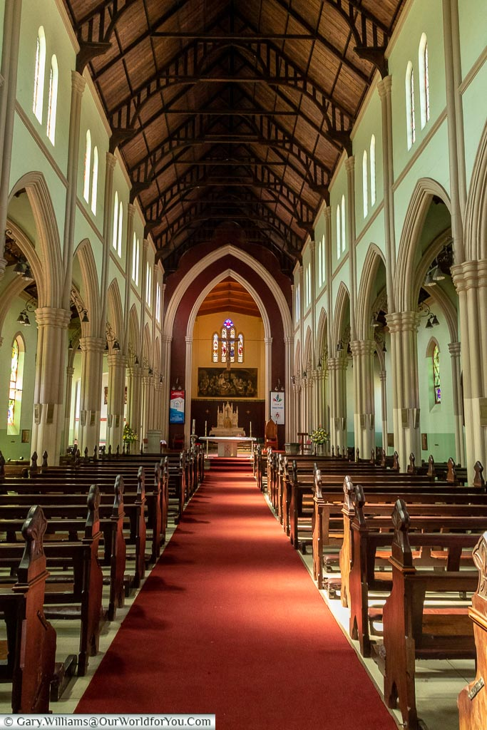 The nave of the Sacred Heart Catholic Cathedral.