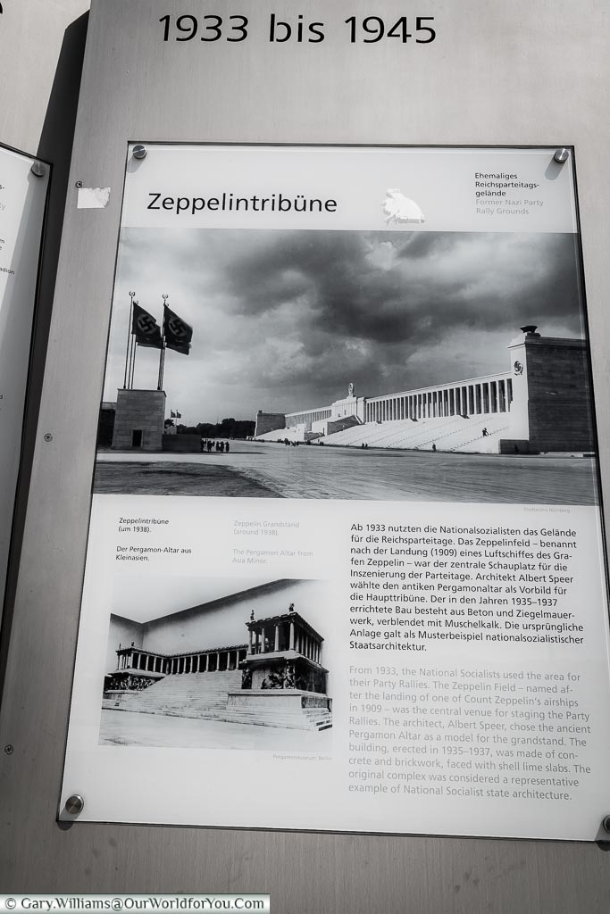 Picture of the Zeppelinfeld Grandstand in its Nazi-era heyday before it was destroyed at the end of the second world war.