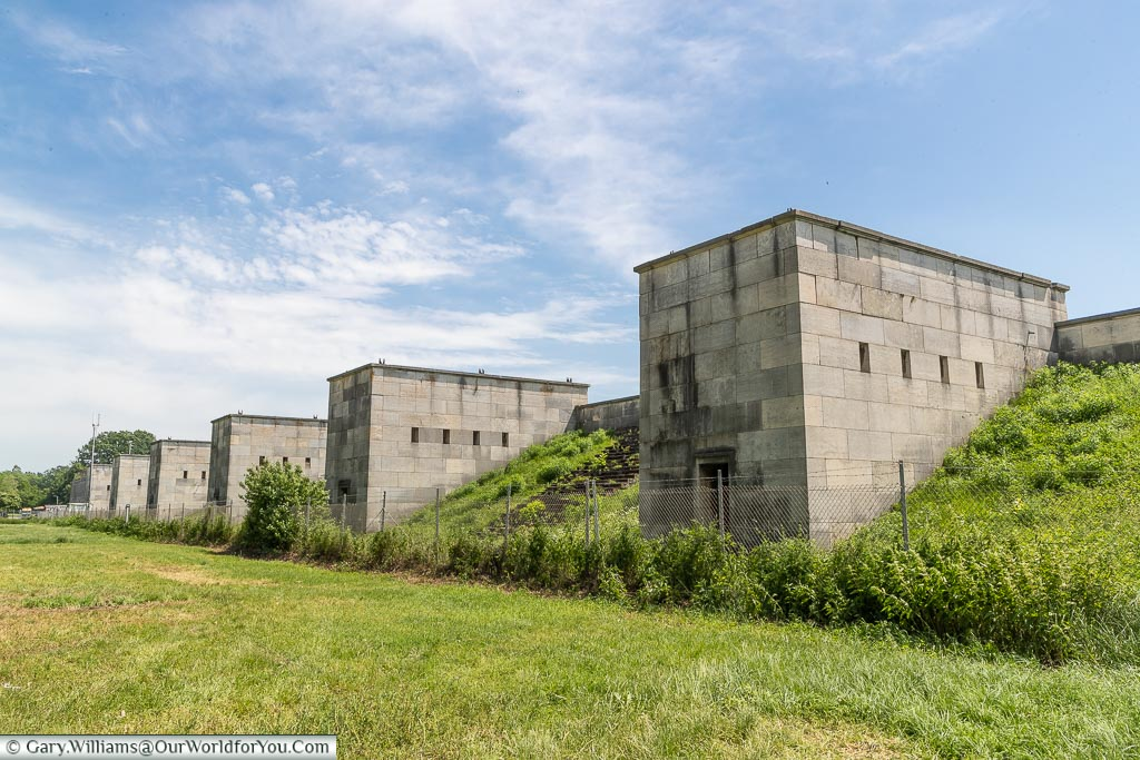 The stone buttresses that surround the perimeter of the Nazi Party Zeppelin Field.