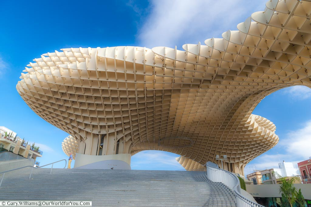 The beautiful wooden structure of the Metropol Parasol, or Mushroom as it's known to the locals.  It's worth climbing for great views of the city.