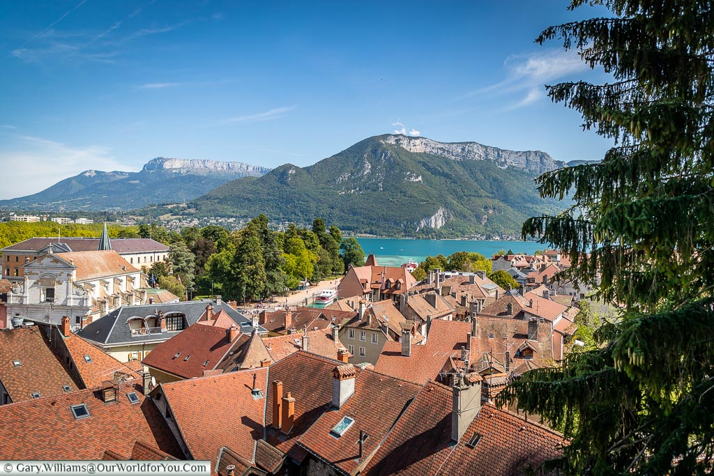 Looking across the rooftops to Lake Annecy and the mountains that frame it.