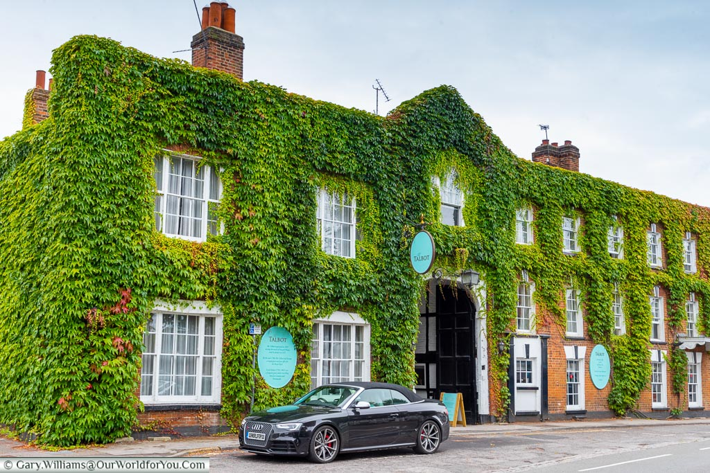 Our car parked in front of The Talbot Inn, Ripley.  A grand, ivy-covered, building whose history dates to the 15th century.