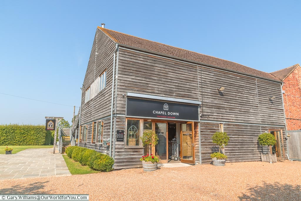 The entrance to the Chapel Down Wine shop, and where the wine tour starts in what looks like a large converted barn.