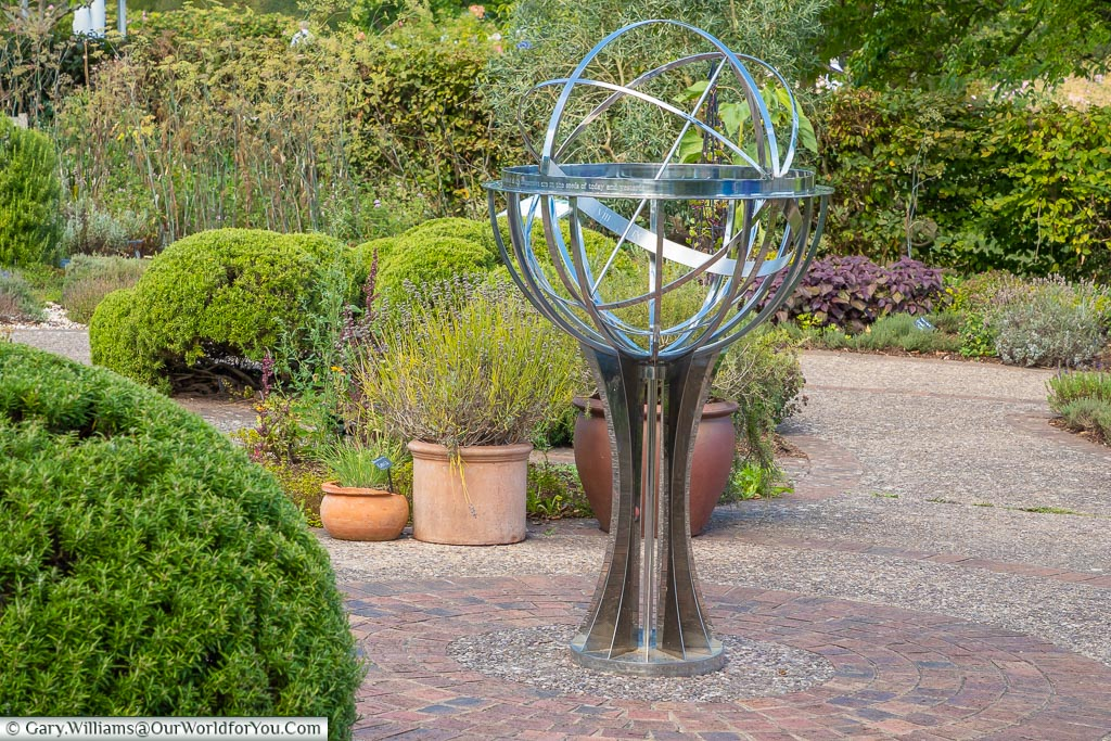 An orbital feature stainless steel is the centrepiece of the Herb Garden.