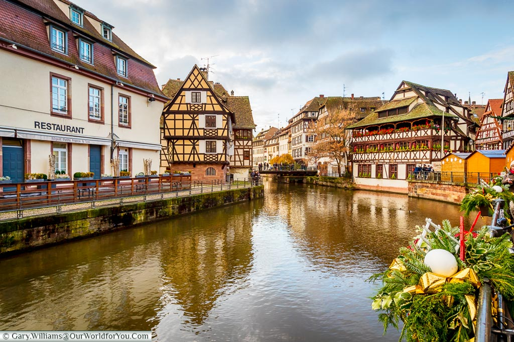 Overlooking the canal in Petite France, Strasbourg.