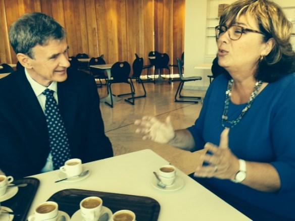 prof. Jadran Lenarčič, Director of the Jožef Stefan Institute with H. E. Ms Veronika Stabej, Ambassador of Slovenia in Paris