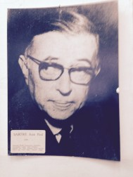 Portrait of Jean-Paul Sartre in classroom — in Sarajevo, Bosnia and Herzegovina.