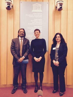 Minister of Education, Sciences and Sport of the Republic of Slovenia Maja Makovec Brencic with UNESCO's Zeynep Varoglu and Indrajit Banerjee.