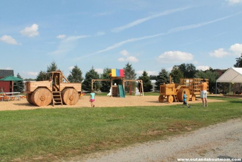 Checking out the monster truck playscape at Meadow View Farm in Southwick, MA