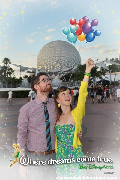 Using Disney's Photopass+ photographers and Memory Maker service, everyone can get in the shot. The photographers can even put in magic touches like the balloons were holding here and the Memory Maker service allows you to add fun borders to your photos.