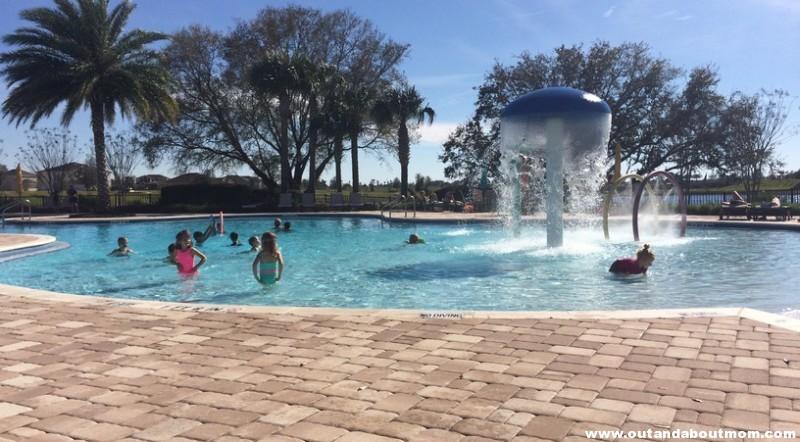 Enjoying their neighborhood pool.