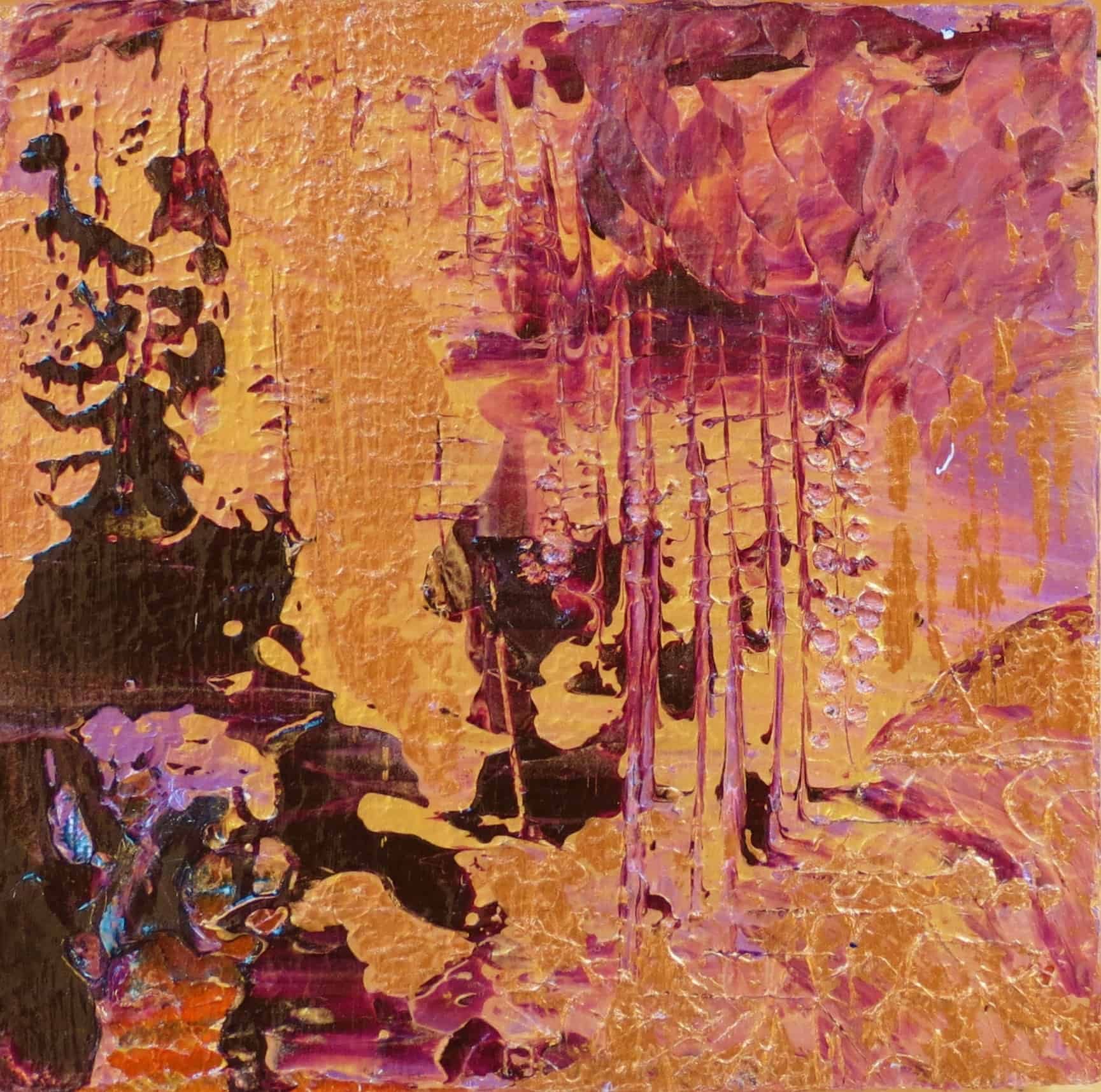 Purple and Gold (1 of 3) Acrylic on Pine Block