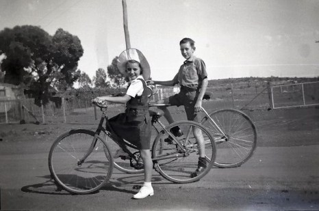 Ellen and Arthur Powell coming home from school circa 1947.
