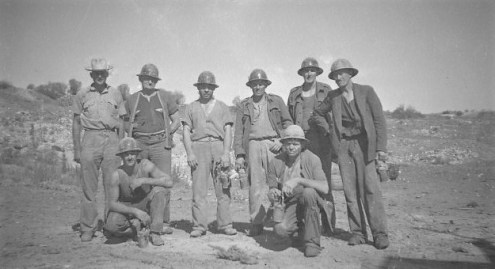 Taken at the Lake View and Star mine in 1948. Milton Spain bottom left squatting.
