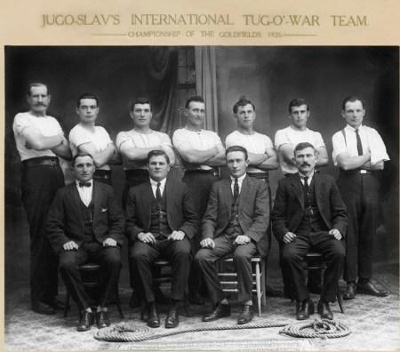 Back:- S Zaratovich, M Zaratovich, J Yurisich, K Zuvela, J Erceg, K Erceg, M Erceg Sitting:- J Botica, Y Kuljis, S Matkovich (Captain) John Tomich