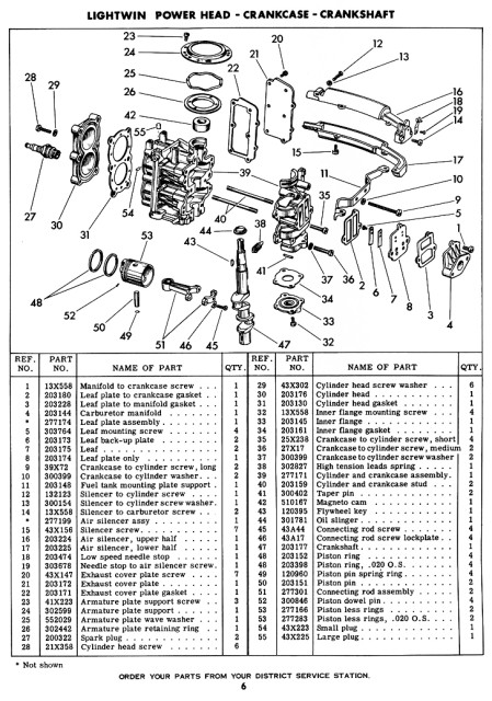 1952-1954 Original Evinrude Lightwin 3 HP Parts Manual