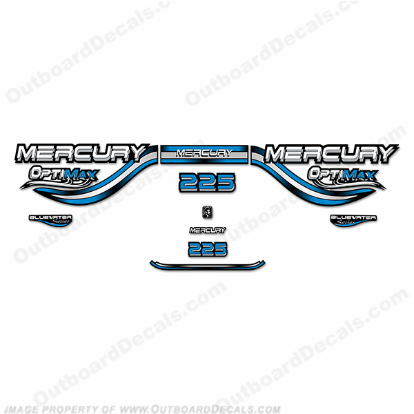 Mercury 225hp Optimax Decals- 1999 (Blue)