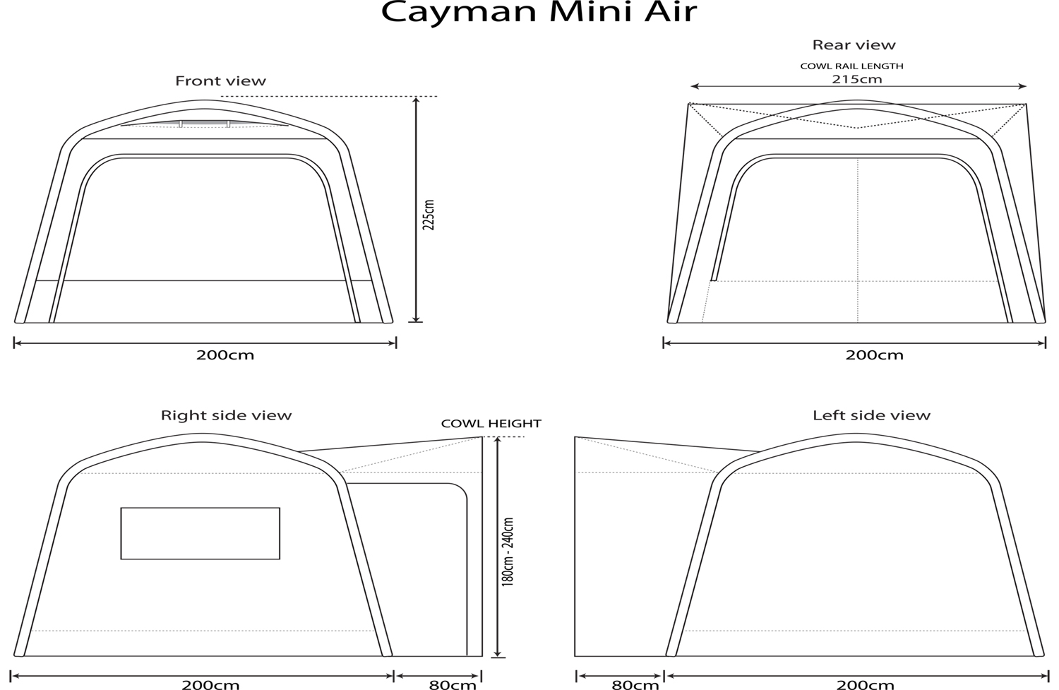 Movelite Cayman Mini Air Compact Blow Up Utility Rv Awning